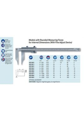 Tesa 00510651 Vernier caliper 0-600mm Res .02mm with rounded measuring faces for internal dimensions (with Fine adjust)