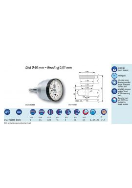 Tesa ROCH Dial Gauge 40mm Diameter 3mm travel .01mm Res 0141760566 with back mounted plunger