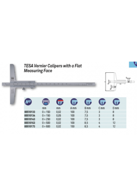 Tesa 00510173 vernier depth caliper with flat measuring face 0-600mm