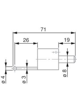 TESA 0071684815 Ball Tip Probe, Tungsten Carbide, Ø4 mm, 71 mm Insert Length