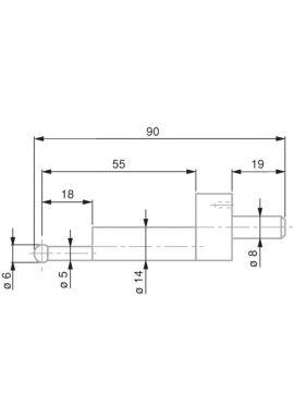 Tesa 0071684825 ball probe tip, tungsten carbide, diameter mm, length 90 mm, insert