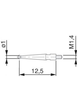 Tesatast dial gauge stylus 2mm ball 12.53mm length 01860202
