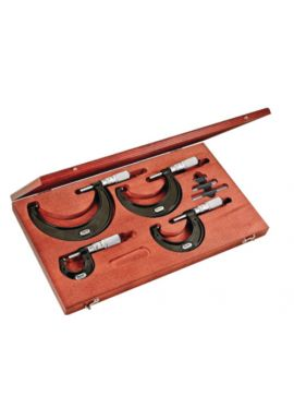 """Starrett ST436.1BXFLZ Outside Micrometer Set includes 4 Micrometers- 1"""", 2"""", 3"""", and 4""""micrometers, two standards, adjusting wrench, in case. .0001""""Grad, Carbide Faces, Friction Thimble, Lock Nut involves a wide range of measurements"""