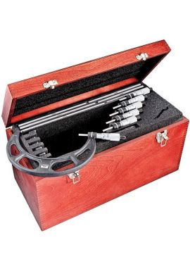 """Starrett ST436DXRLZ Outside Micrometer Set includes 7"""",8"""",9"""",10"""",11""""and 12"""" micrometers, two standards, adjusting wrench, in case."""