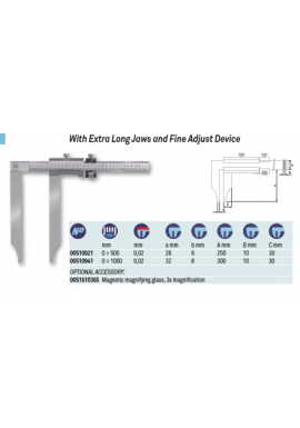 Tesa 00510921 vernier caliper with Extra Long Jaws and Fine Adjust Device 0-500mm