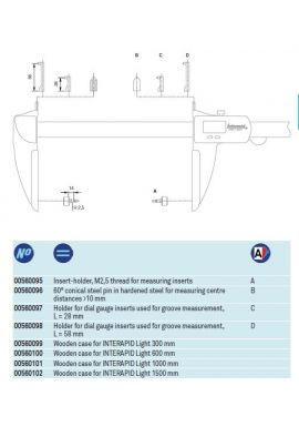Tesa 00560097 holder for dial gauge styli on caliper L=28mm