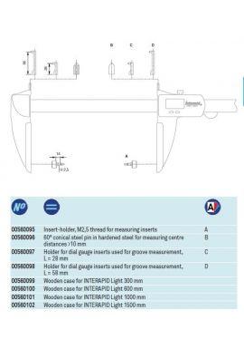 Tesa 00560098 holder for dial gauge styli on caliper L=58mm