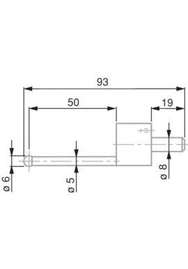 Tesa 0071684816 ball probe tip, tungsten carbide, diameter 6mm, length 93 mm, insert