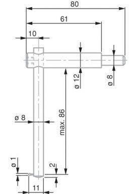 TESA 0071684818 Ball Tip Probe, Steel, Ø1 mm, Adjustable Shank for Depth Measurement, 80 mm Insert Length
