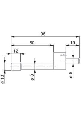 TESA 0071684820 Cylindrical-Shaped Probe, Steel, Ø10 mm, 96 mm Insert Length