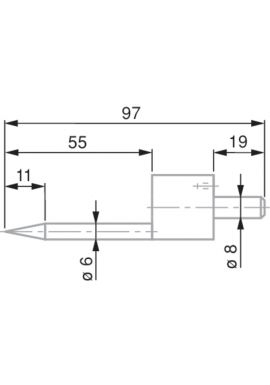 Tesa 0071684822 conical probe, steel, Ø0.5 mm, 97 mm insert length