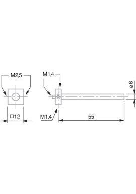 TESA 00760096 Star Shaped Probe Insert Holder for Probe M1.4 and M2.5, 55 mm Length