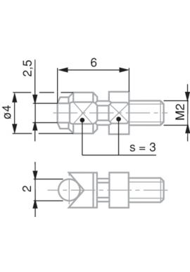 Tesa 03510503 Measuring Insert with Cylindrical Measuring Face, Lock Nut for Radial Alignment, M2 Thread